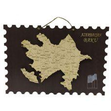Карта Азербайджана ручной работы 29 х 20 см
