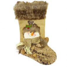 """Носок новогодний для подарков """"Снеговик в шарфике"""""""