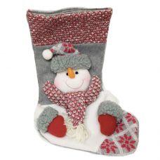 """Носок новогодний для подарков """"Снеговик в шарфике"""" серый"""