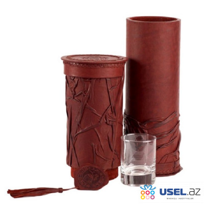 Тубус-бар со стаканом виски (натуральная кожа) Макей