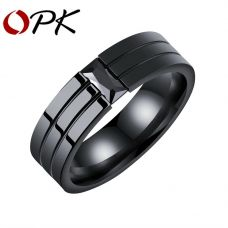 Мужское стальное кольцо с цирконием