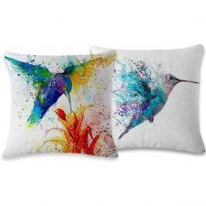 Набор чехлов из хлопка и льна на декоративную подушку (2 чехла - птица)