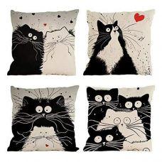 Набор декоративных чехлов на подушку BlueSpace (4 предмета - коты)