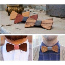 Мужской деревянный галстук бабочка