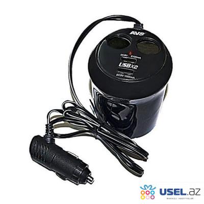Разветвитель прикуривателя, 12/24 В, на 2 выхода + USB