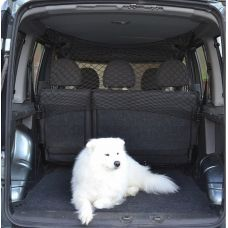 Dog transport mesh to the top of trunk of a car