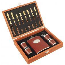 Шахматы с флягой подарочный набор для алкоголя