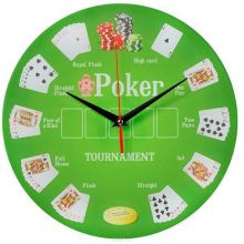 """Часы настенные """"Покер"""" стеклянные"""