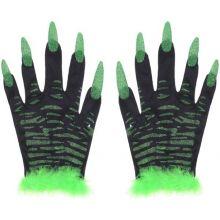 Карнавальные перчатки с ногтями черно-зеленые