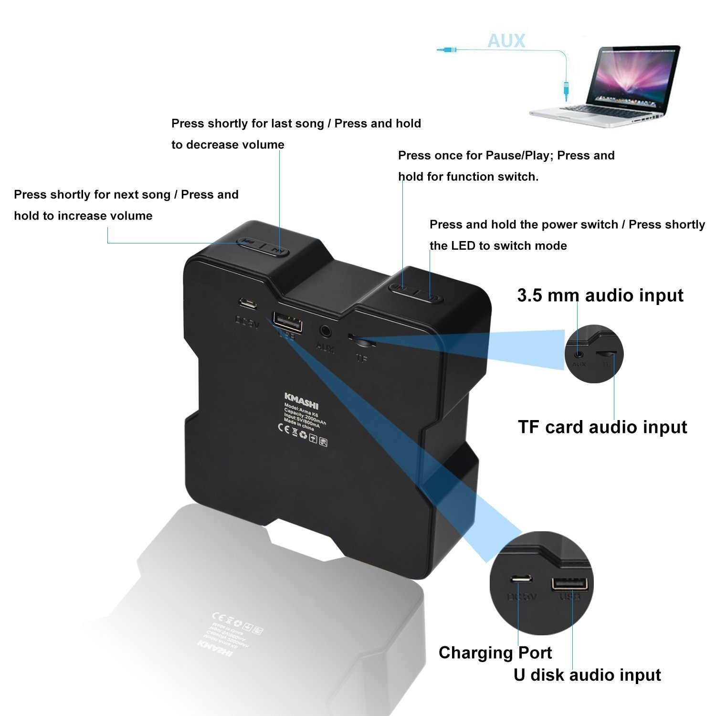 KMASHI Портативная беспроводная Bluetooth колонка Подсветка / TF карта/ Мощный звук /Поддержка баса
