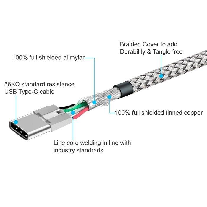 USB кабель Snowkids с нейлоновой оплеткой