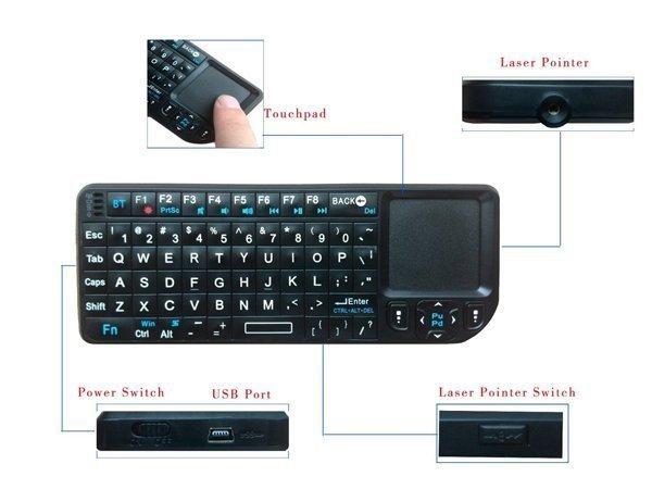 iPazzport Мини Bluetooth-клавиатура с тачпадом и подсветкой для Smart TV, ПК и андроид устройств