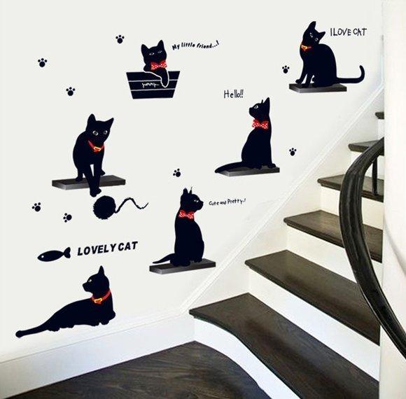 """Интерьерная наклейка на стену """"Черные коты"""""""