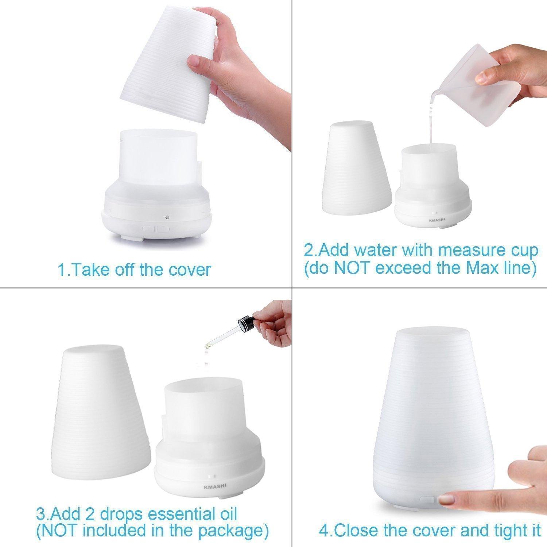 Ультразвуковой увлажнитель воздуха - аромалампа с регулируемым паром, 7 Цветов KMASHI