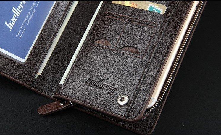 Мужской длинный кожаный ID бифорд портмоне - клатч