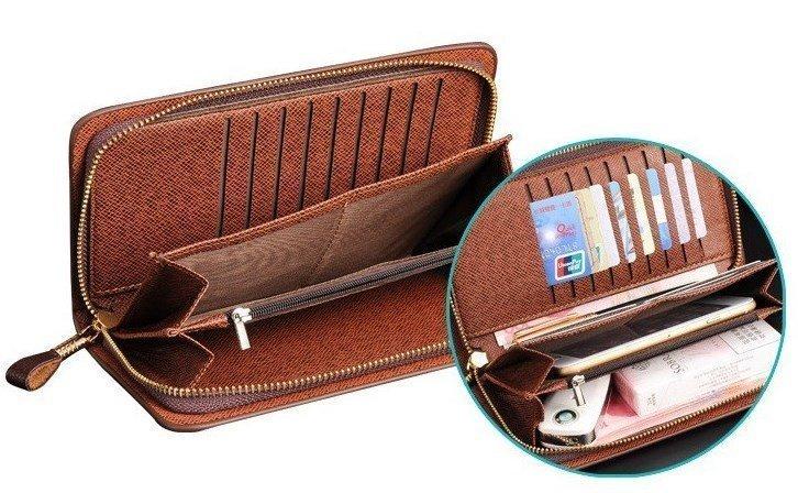 Бизнес клатч - бумажник с молнией / ID / с отделениями для карт