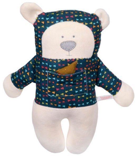 Медведь с открытыми глазами в темной рубашке с цветными бантиками