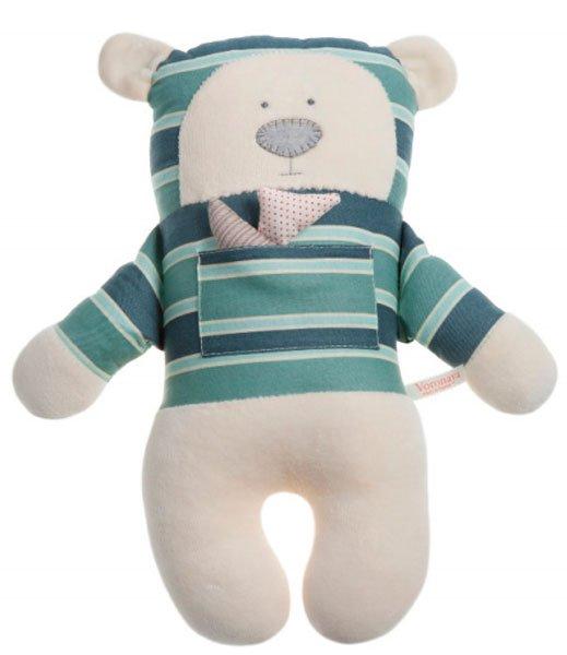 Медведь с открытыми глазами в рубашке с голубыми полосками