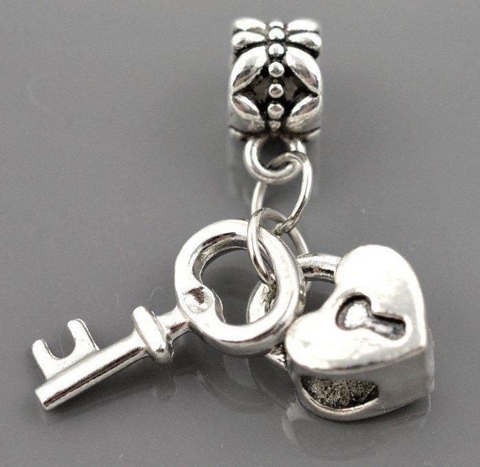 """Gümüş örtü 925 Pandora üçün asma """"Love Lock key """""""
