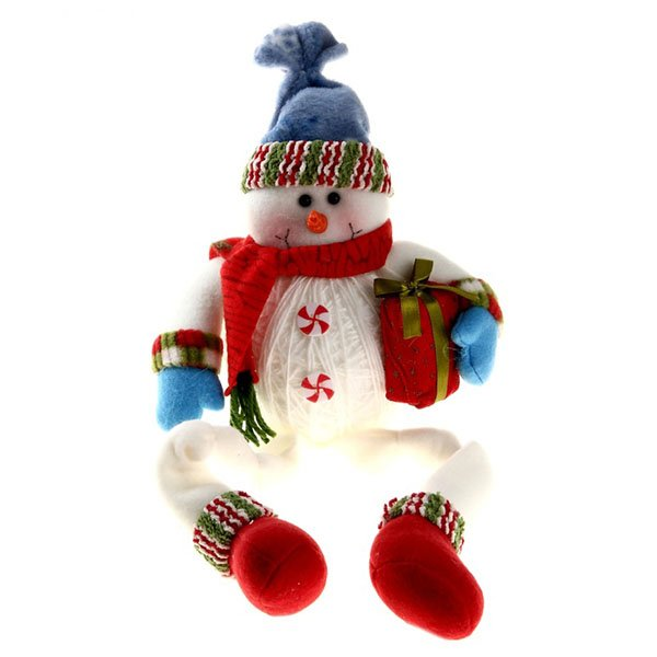 Мягкий снеговик с подарком