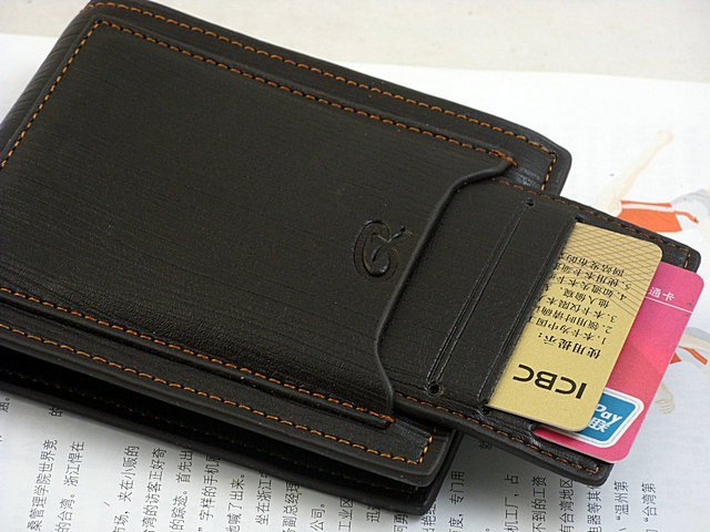 Мужской кожаный портмоне с центральными отделением для визиток