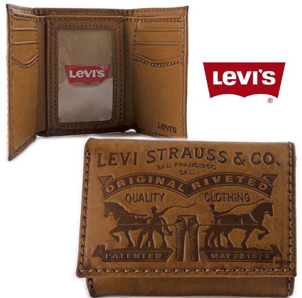 Мужской кожаный кошелек Levis Premium Trifold