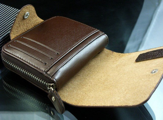 Мужской мульти-двойной кожаный клатч - портмоне