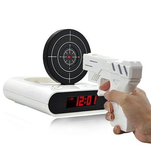 Часы будильник Пистолет с мишенью