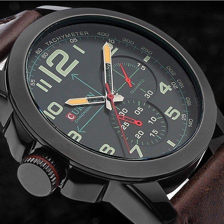 Мужские армейские наручные часы Curren с кожаным ремешком