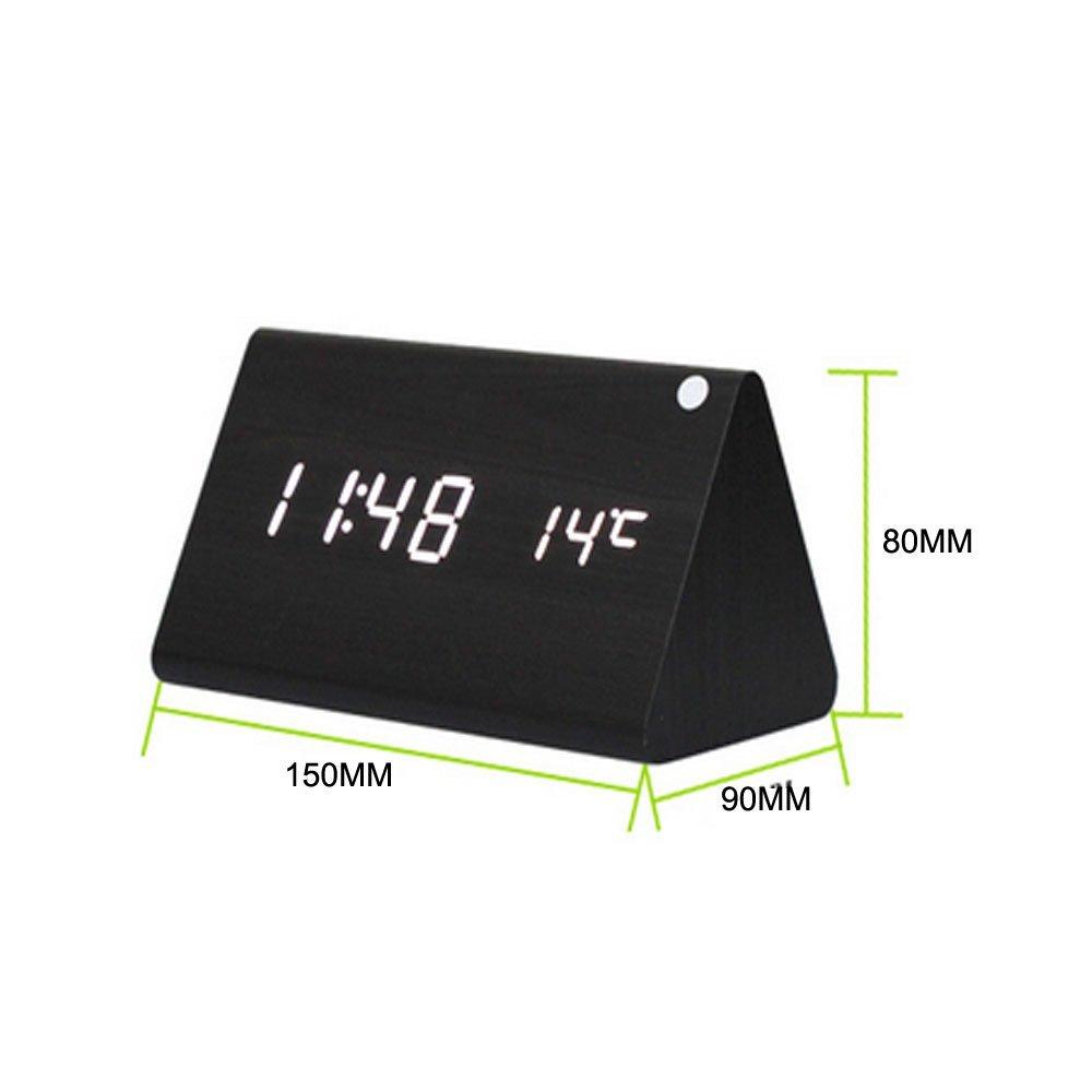 Треугольные деревянные светодиодные цифровые часы / градусы / управления звуком